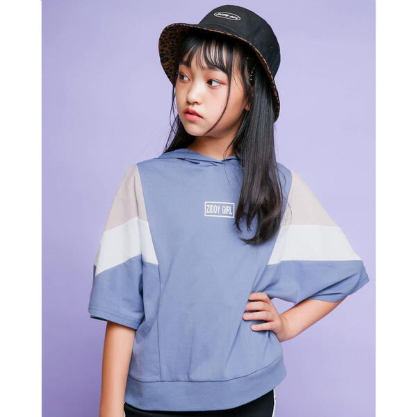 ニコ☆プチ掲載 おしゃれ フード付き 切り替え スポーティ スポーティー ジディ 半袖 新作 人気 Tシャツ 130~160cm