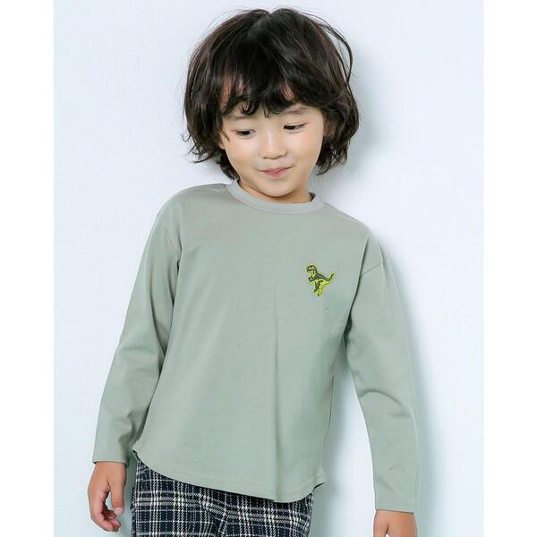 Tシャツ カットソー バックロゴ 恐竜 スラップスリップ 希望者のみラッピング無料 ワッペン トラスト Tシャツ 80~130cm