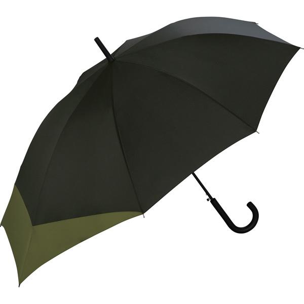 NEW メーカー直売 雨傘 UX BACK セール PROTECT w.p.c ブラック×カーキ 長傘 バックプロテクトアンブレラ