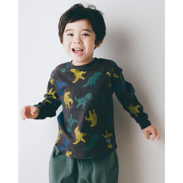 NEW 恐竜柄 プリント 爆買いセール 長袖 80~130c Tシャツ スラップスリップ 新作アイテム毎日更新 80~130cm