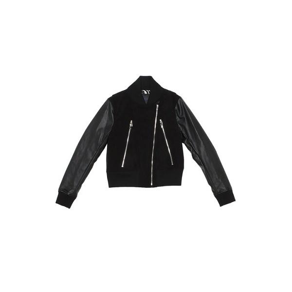 LEATHER ETTE ブラックブルゾン/ダブルスタンダードクロージング(DOUBLE STANDARD CLOTHING)