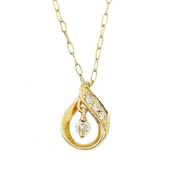 K10イエローゴールドダイヤモンドしずくネックレス/エステール(ESTELLE)