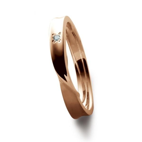 シルバーピンクゴールドダイヤモンドツイストペアリング/ブルーム(BLOOM)