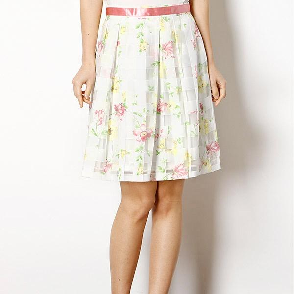 透け感と花柄のふんわりスカート シースルーチェック花柄タックスカート 全店販売中 カールパークレーン Park Karl 限定特価 Lane
