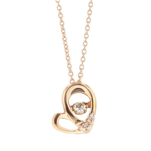 【ダンシングストーン】K10ピンクゴールドダイヤモンドハートモチーフネックレス/エステール(ESTELLE)