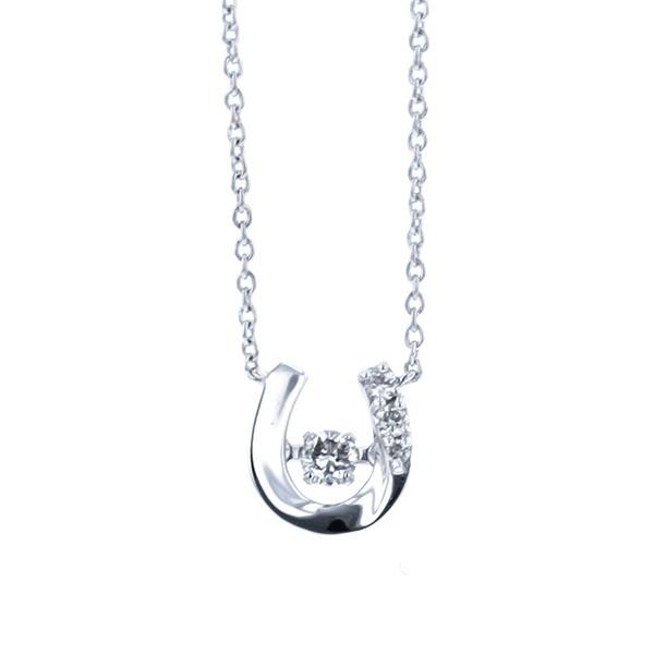 【ダンシングストーン】K10ホワイトゴールドダイヤモンド馬蹄モチーフネックレス/エステール(ESTELLE)