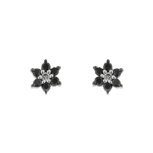 K10ホワイトゴールドブラックダイヤモンドピアス/エステール(ESTELLE)