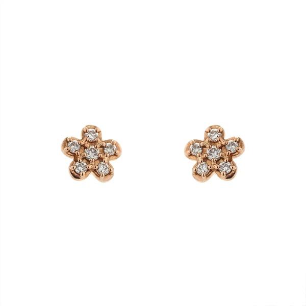 K10ピンクゴールドダイヤモンドフラワーモチーフピアス/エステール(ESTELLE)