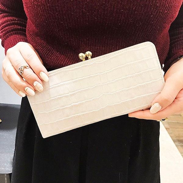 【日本製】がま口財布 クロコ型押しパール加工 / エクルーガレリア/アンメートルキャレ(1meter carre)