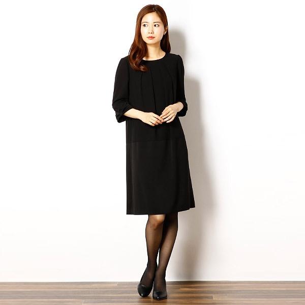 日本製/ブラックフォーマル ワンピース/軽礼装/7号/9号/11号/13号/2623667/ドレスデコ(dress deco)