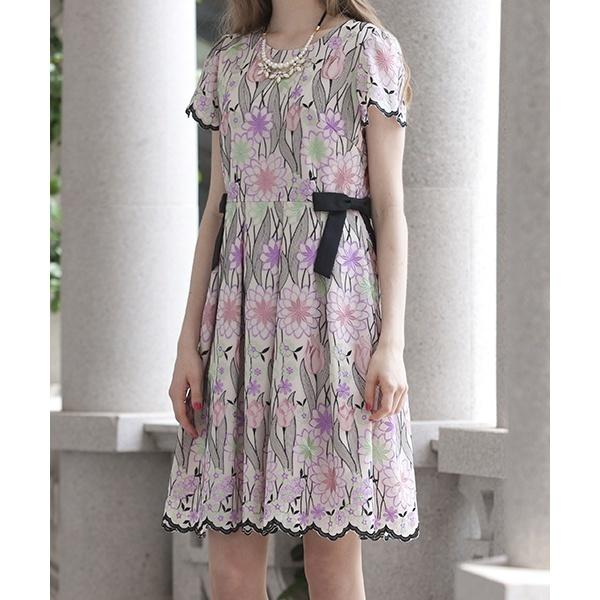 全2色【36・38・40】チューリップ刺繍ドレス/ローズティアラ(Rose Tiara)
