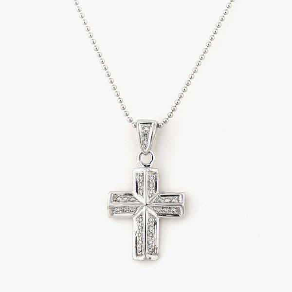 K18 ホワイトゴールド ダイヤモンド クロス ネックレス/エステール(ESTELLE)