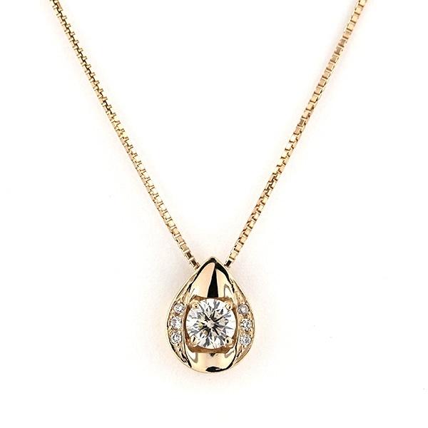 K18 ピンクゴールド ダイヤモンド しずく ネックレス(0.3ct)/エステール(ESTELLE)