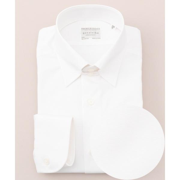 【形状安定】【タブカラー】プレミアムプリーツ ドレスシャツ/五大陸(gotairiku)