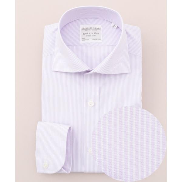 【形状安定】【ワイドカラー】プレミアムプリーツ ドレスシャツ/五大陸(gotairiku)
