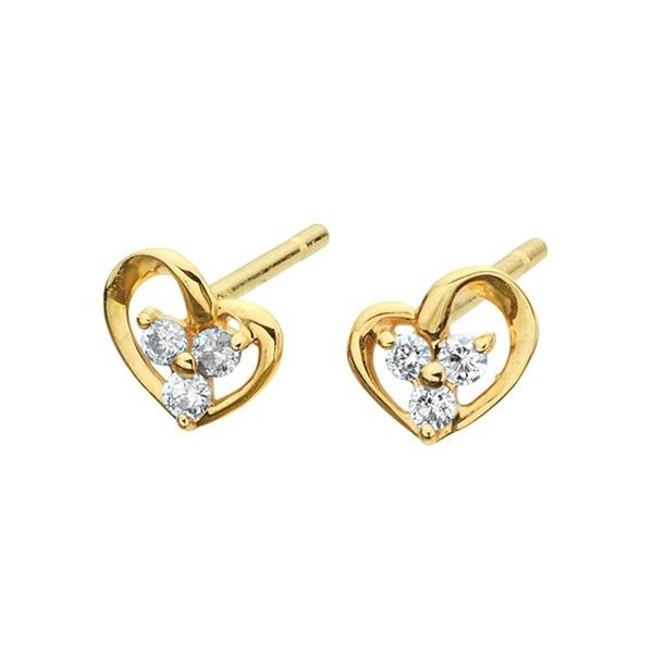 K10 イエローゴールド ダイヤモンド ハート ピアス/エステール(ESTELLE)「不良品のみ返品を承ります」