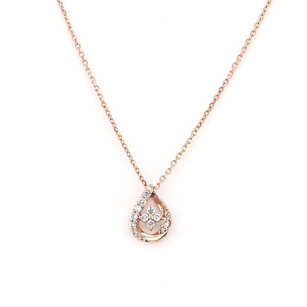 K18 ピンクゴールド ダイヤモンド しずくモチーフ ネックレス/エステール(ESTELLE)