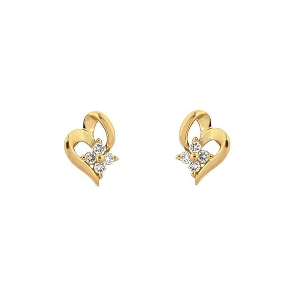 K18 イエローゴールド ダイヤモンド ハートモチーフ ピアス/エステール(ESTELLE)「不良品のみ返品を承ります」
