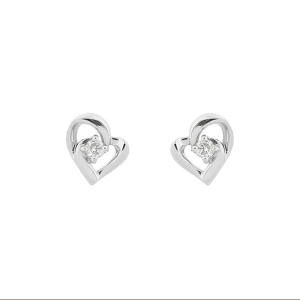 K18 ホワイトゴールド ダイヤモンド ハートモチーフ ピアス/エステール(ESTELLE)「不良品のみ返品を承ります」
