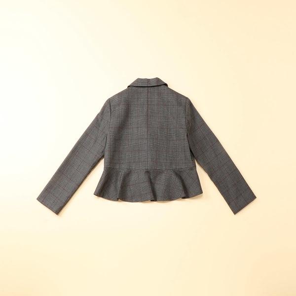 40d76ac827ef4 コムサイズムキッズのグレンチェックジャケット(140~160cm) ショールカラーとサーキュラーのような裾の切替が女の子らしいデザインのジャケットです。