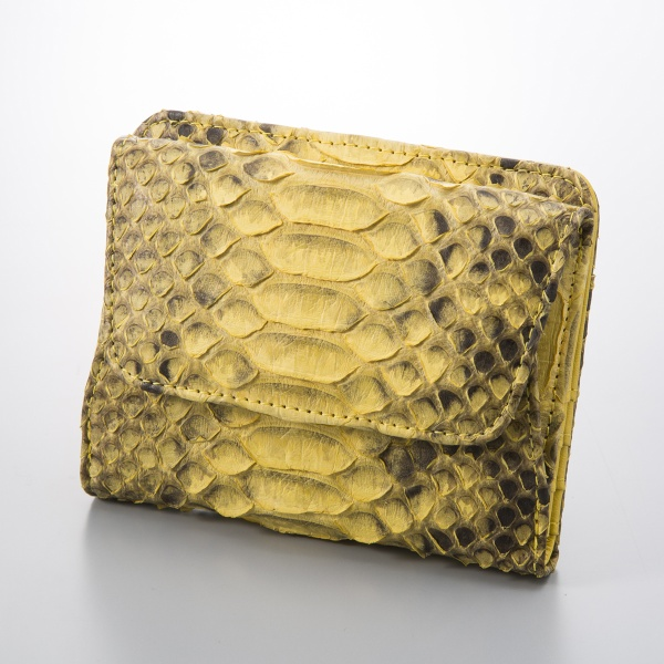 【使うほどに風合いが増す】ダイヤモンドパイソン コンパクト財布/バゲッジゲート(Baggage Gate)