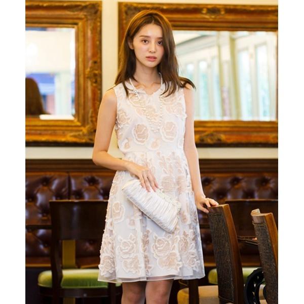 全2色【大きいサイズ】【42・46】チュールカット刺繍ワンピース/ローズティアラ(大きいサイズ)(Rose Tiara)