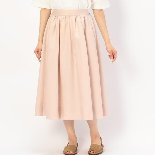 【LE GLAZIK】リネンギャザースカート WOMEN/ビショップ(レディース)(Bshop)