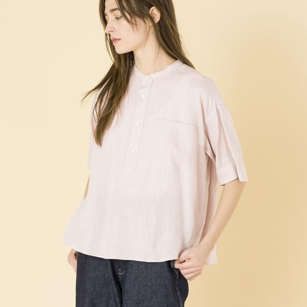 【LE GLAZIK】半袖バンドカラーシャツ WOMEN/ビショップ(レディース)(Bshop)