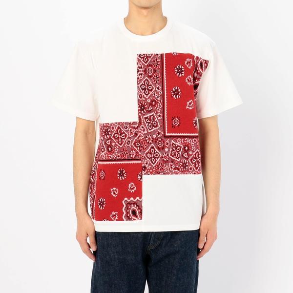 ■【COOHEM】バンダナ ジャガードTシャツ RED MEN/ビショップ(メンズ)(Bshop)