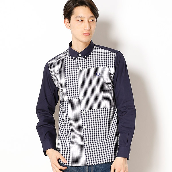 【18SS】GINGHAM MIX PANEL SHIRT/フレッドペリー(メンズ)(FRED PERRY)