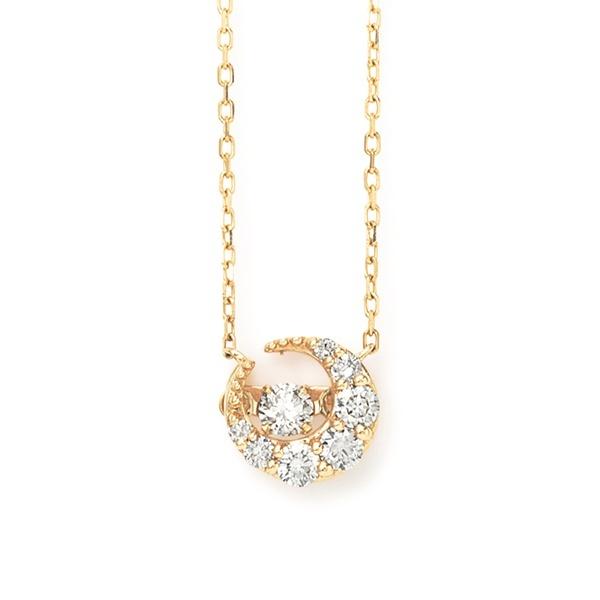 【ダンシングストーン】K10 イエローゴールド ダイヤモンド 月 ネックレス/ブルーム(BLOOM)