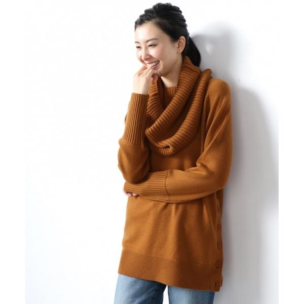 【梅春新作】Soft Wool Middle スヌード付き ニット/アイシービー L(ICB L)