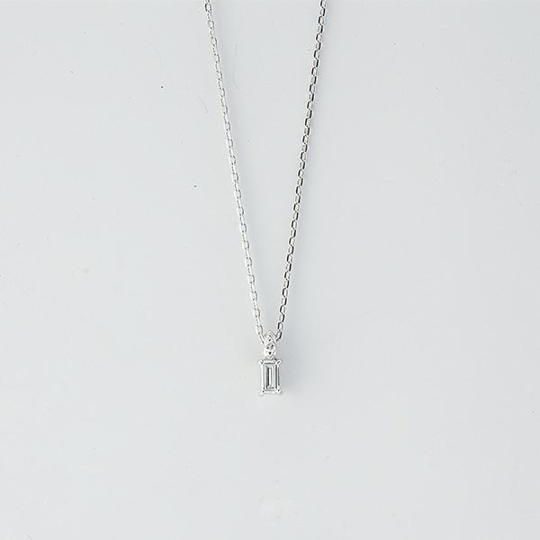 バゲットカットダイヤモンドネックレス[K18WG/0.05ctup]/東京ジュエリーインデックス(TOKYO JEWELRY INDEX)