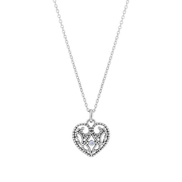 K10 ホワイトゴールド ダイヤモンド ハートモチーフ ネックレス/エステール(ESTELLE)