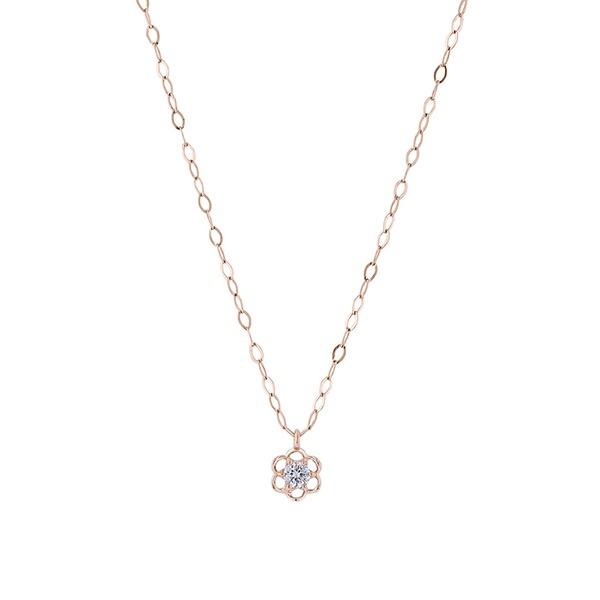 K10 ピンクゴールド ダイヤモンド フラワーモチーフ ネックレス/エステール(ESTELLE)