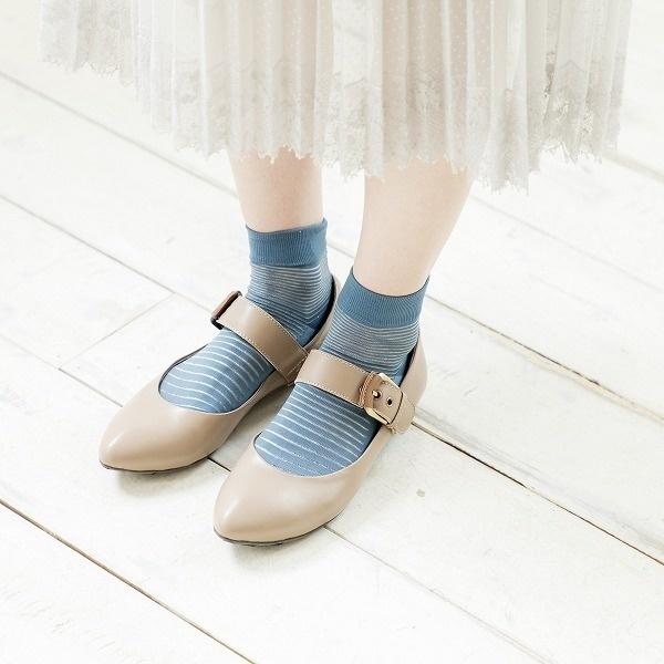 《26.5cm~》ワイドストラップパンプス/037546/オン ブルー(On bleue)(卑弥呼 himiko)