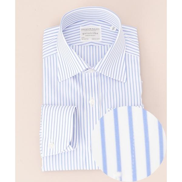 【形状安定】プレミアムプリーツ ドレスシャツ セミワイド/五大陸(gotairiku)