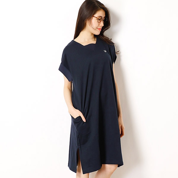 【18SS】GUSSET NECK SWEAT DRESS/フレッドペリー(レディス)(FRED PERRY)