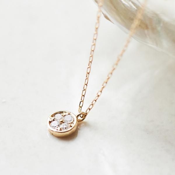 【K10】サークルパヴェダイヤモンドネックレス/フィービィー(phoebe)