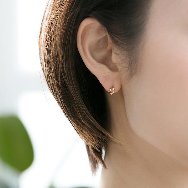 【K10】リーフダイヤモンドピアス/フィービィー(phoebe)「不良品のみ返品を承ります」