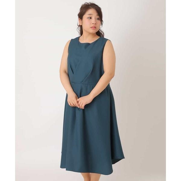 【大きいサイズ】【3way】タックデザインワンピースドレス/エウルキューブ(eur3)