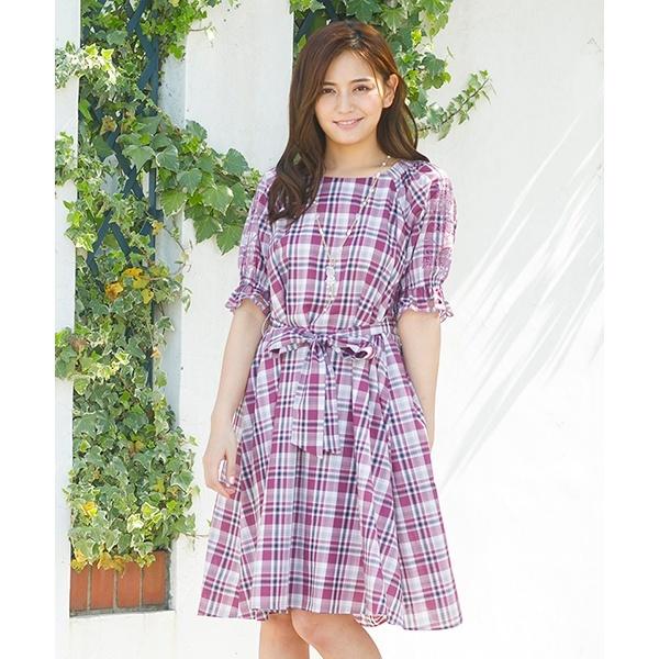 全2色【38】エンブロイダリースリーブチェックワンピース/ローズティアラ(Rose Tiara)