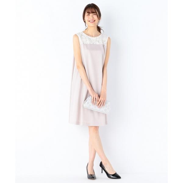 【結婚式やパーティに】スパンコールレースコンビキュプラサテン ドレス/組曲(KUMIKYOKU)