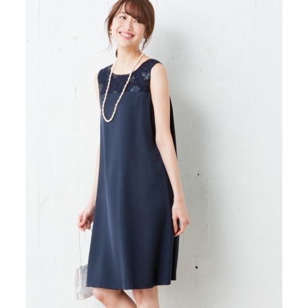 【結婚式やパーティに】スパンコールレースコンビキュプラサテン ドレス/組曲 L(KUMIKYOKU L)
