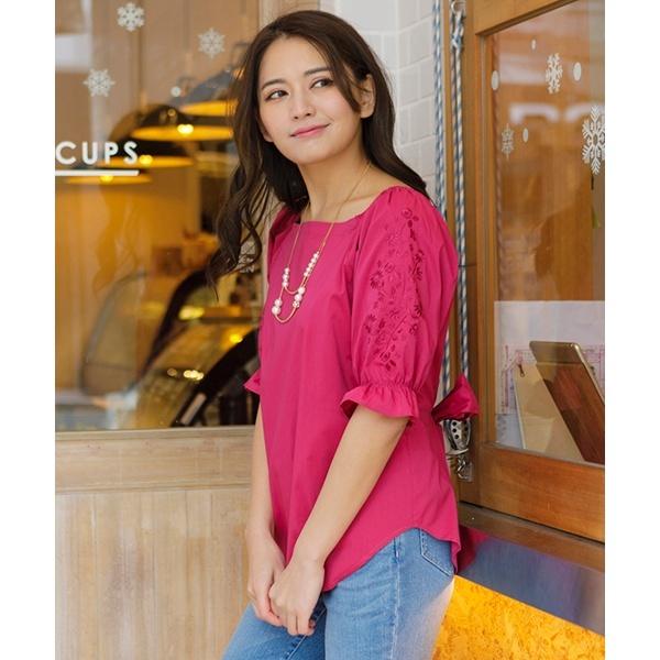 全3色【大きいサイズ】【42・46】フラワー刺繍スリーブウエストリボンブラウス/ローズティアラ(大きいサイズ)(Rose Tiara)