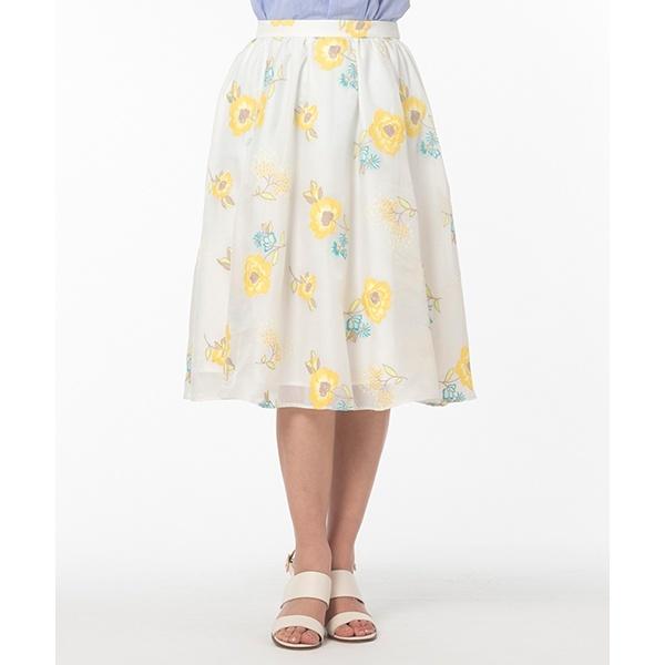 全2色【大きいサイズ】【42・46】フラワー刺繍フレアスカート/ローズティアラ(大きいサイズ)(Rose Tiara)