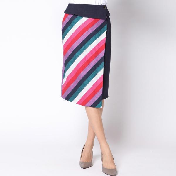 ≪大きいサイズ≫マルチストライプ切り替えスカート/ビアッジョブルー(大きいサイズ)(Viaggio blu)