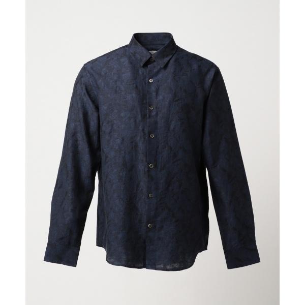 【春のおすすめトップス】クリンクルリネンジャガード シャツ/カルバン・クライン メン(Calvin Klein men)