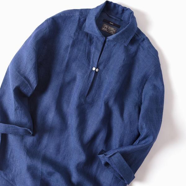 イタリア製リネンカプリシャツL青★I44820 スキッパー 新同 【中古】 マリオムスカリエッロ Mario Muscariello CAPRI 七分袖 麻 メンズ
