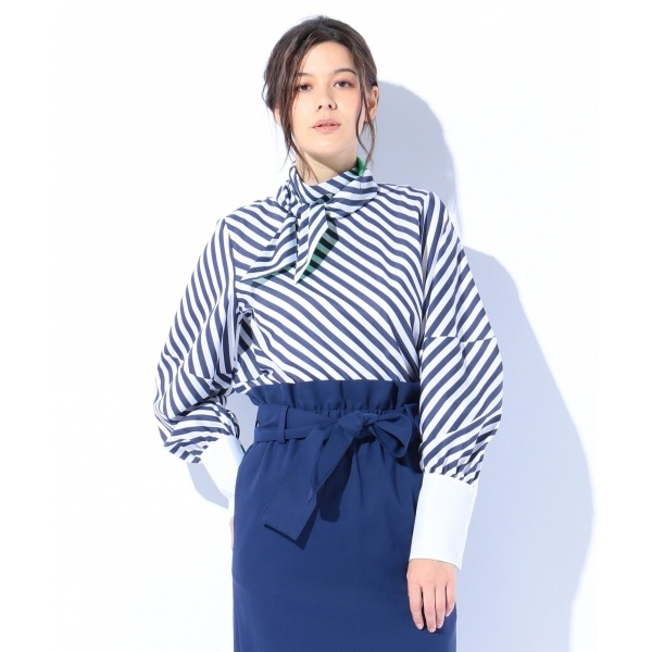 【春のおすすめトップス】ボールドストライプコットン ブラウス/カルバン・クライン ウィメン(Calvin Klein women)